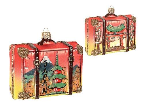 Japan Travel Suitcase Polish Blown Glass Christmas Ornament Tree Decoration
