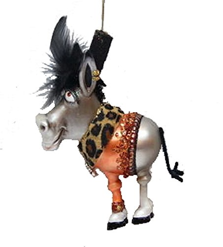 December Diamonds Blown Glass Ornament – Mr. Donkey with Black Feather Hat