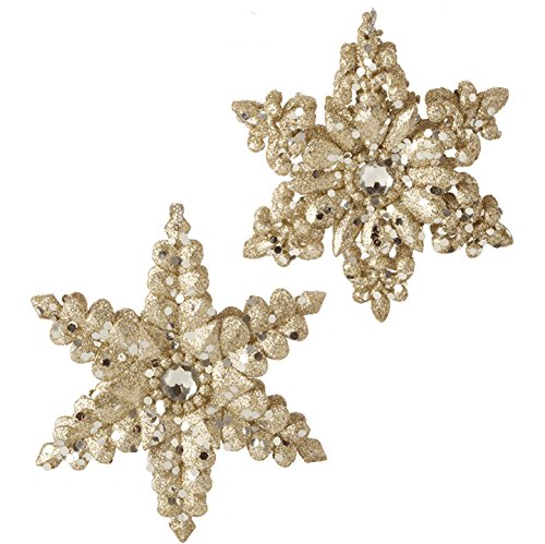RAZ Imports – Formal Affair – 5″ Gold Snowflake Ornaments – Set of 2