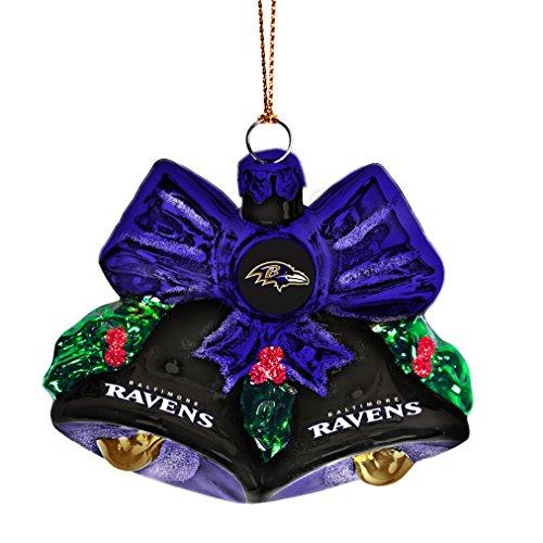 NFL Baltimore Ravens Glitter Bells Ornament, Green, 3″ x 3″