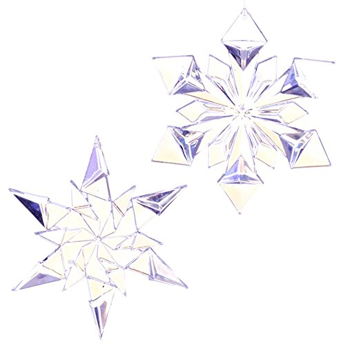 RAZ Imports – Enchanted Holiday – Whimsy – 4.5″ Iridescent Clear Snowflake Christmas Tree Ornament – Set of 2