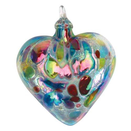 Glass Eye Studio Ornament Heart Opal Confetti
