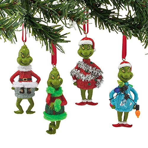 Department 56 Grinch Ugly Sweater Mini Ornaments Set of 4 Ornaments