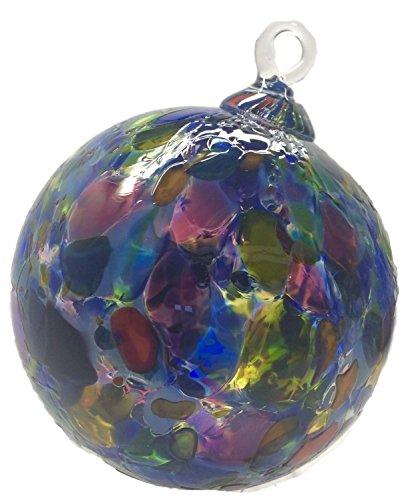 Handmade Artist Totally Blown Glass Ball Ornament 4″ Purple Stained Glass Window