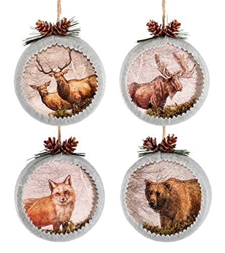 Set of 4 Wildlife Image Moose Fox Bear Elk Paper Box Ornaments