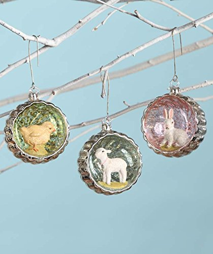 Bethany Lowe Vintage Style Glass Easter Indent Ornament Set of 3