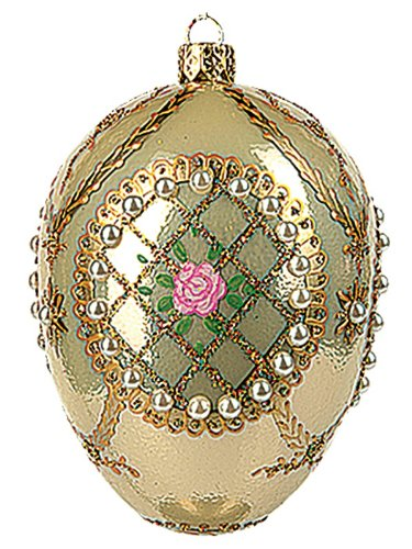 Rose in Pearls Faberge Inspired Egg Polish Glass Ornament Easter Decoration