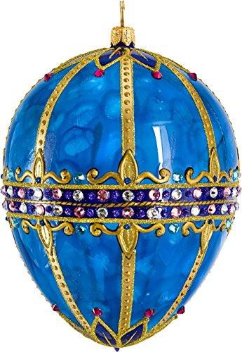 Glitterazzi Sapphire Jeweled Egg Ornament by Joy to the World