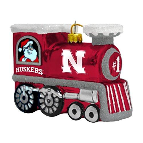 NCAA Nebraska Cornhuskers Blown Glass Train Ornament