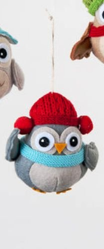 One Hundred 80 Degrees Fabric Owl Ornament, Choice of Styles (Owl Ornament-red cap)