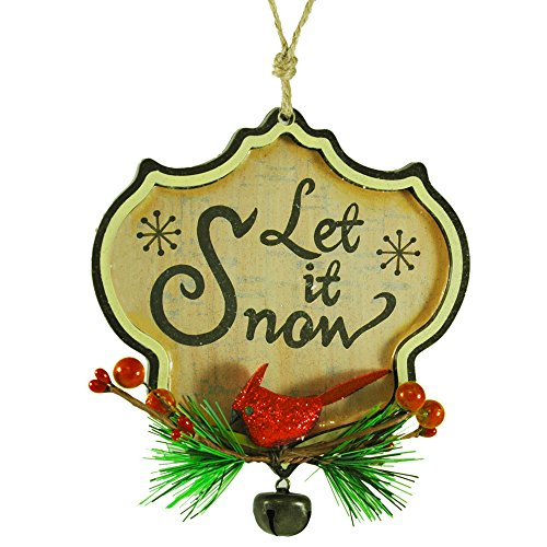 "Retro Wood ""Let It Snow"" Ornament with Red Cardinal"