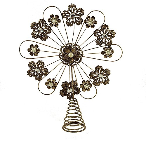 Metalwork Flower Christmas Tree Topper With Jewels
