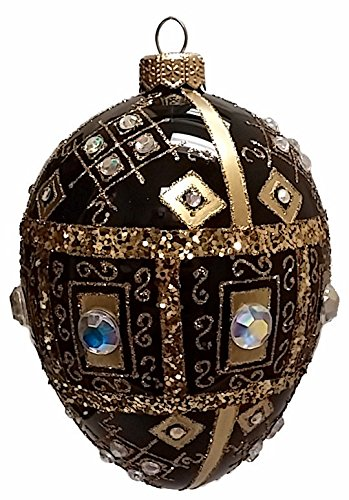 Black and Gold Jeweled Faberge Inspired Egg Polish Glass Christmas Ornament
