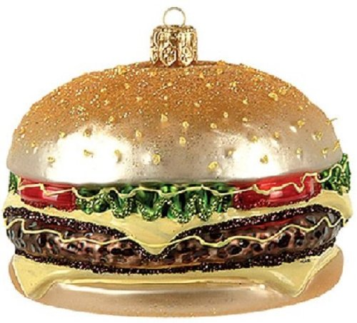 Fast Food Cheeseburger Polish Glass Christmas Ornament Made in Poland Decoration