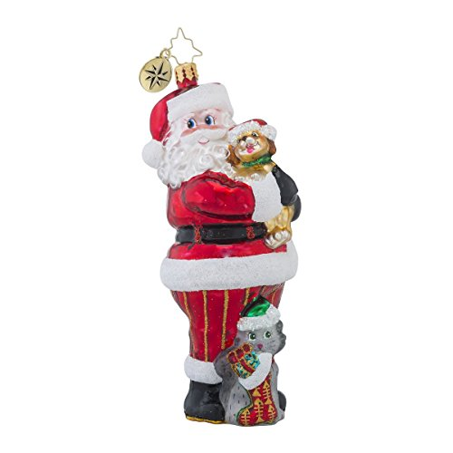 Christopher Radko Christmas Tail Santa Glass Christmas Ornament – 2016 Animal Charity Awareness Ornament – 5″h.