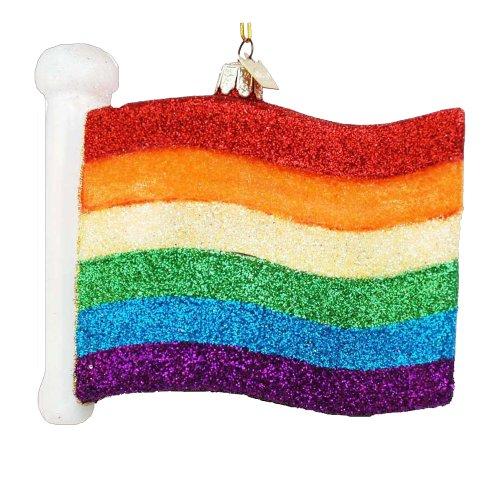 Kurt Adler 4-1/2-Inch Noble Gems Glass Gay Pride Flag Ornament
