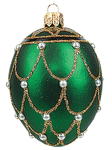 Mini Green Pearl Egg Faberge Inspired Polish Glass Ornament Easter Decoration