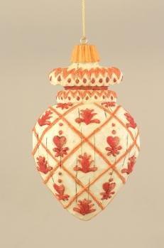 Jim Shore Christmas 118701 Flower/ Heart Deboss Ornament