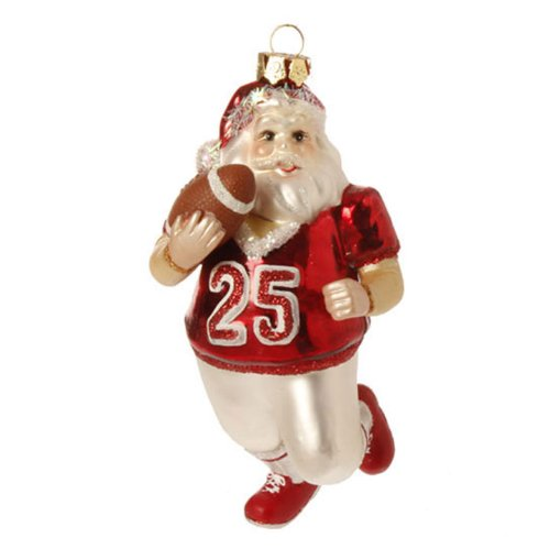Raz Imports Football Santa Christmas Ornament
