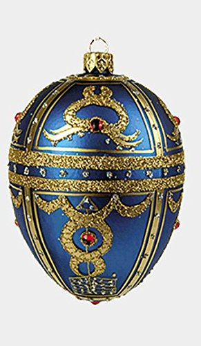 Blue Royal Braid Egg Faberge Inspired Polish Glass Ornament Easter Christmas Egg