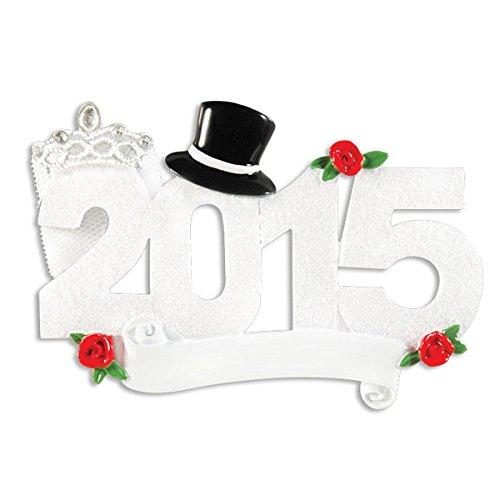 2015 Wedding Couple Newleyweds Personalized Christmas Ornament