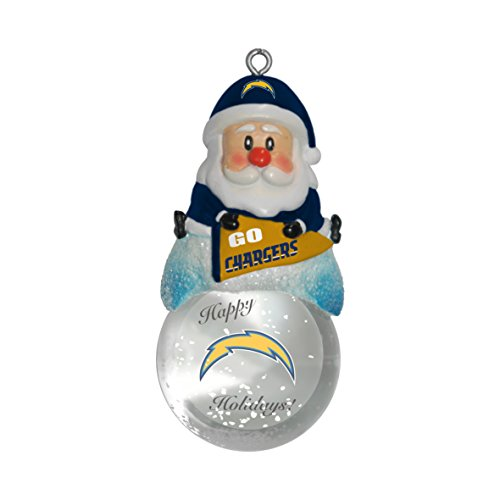 NFL San Diego Chargers Snow Globe Ornament, Silver, 1.5″