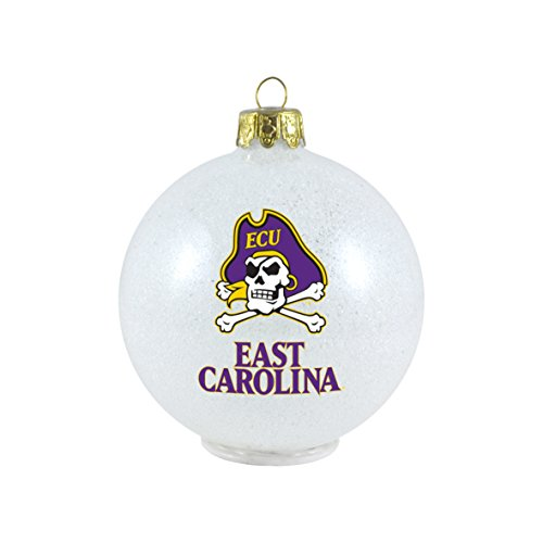 NCAA East Carolina Pirates LED Color Changing Ball Ornament, 2.625″, White