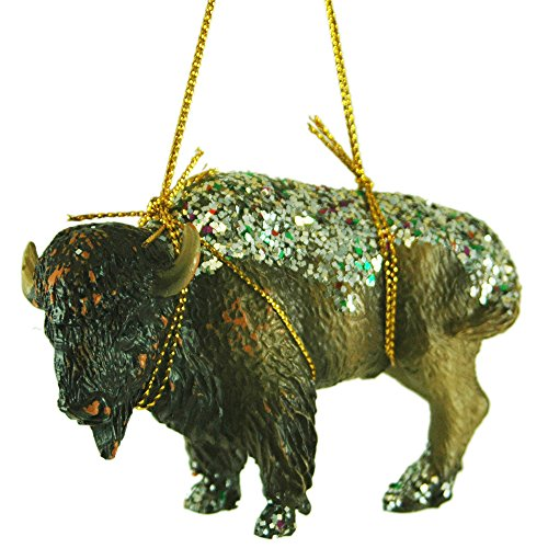 Resin Buffalo Ornament with Glitter Accents