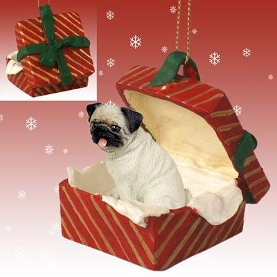 Pug Red Gift Box Christmas Ornament