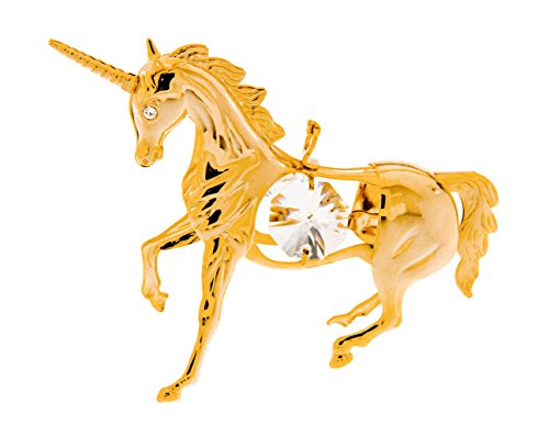 Unicorn 24k Gold Plated Metal Hanging Ornament with Spectra Crystals by Swarovski
