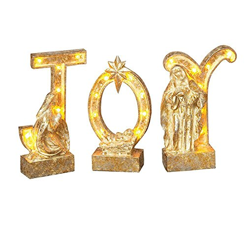 LED Lighted Gold Joy with Holy Family Standing Tabletop Sign Holiday Decoration