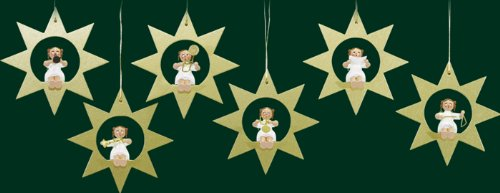 Hanging Christmas Tree Ornaments Angel in Star, 6 Pieces
