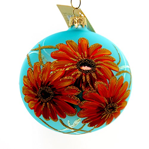 Christina's World FLORENTINE GERBERA Glass Ornament Orange Flower Sun130