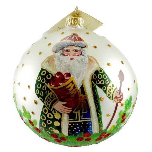 Christina's World APPLE BASKET SANTA Glass Ornament Christmas Ball Tra423