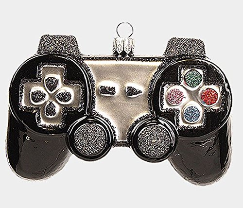 Black Video Game Controller Game Pad Polish Mouth Blown Glass Christmas Ornament