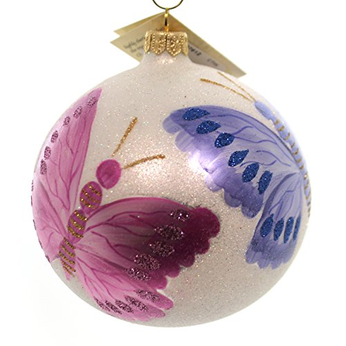 Christina's World WHITE MORNING DEW BUTTERFLY Glass Ball Ornament But639