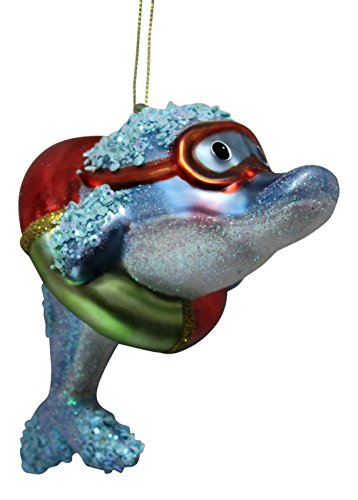 Coastal Dolphin in Goggles Glass Holiday Christmas Ornament December Diamonds