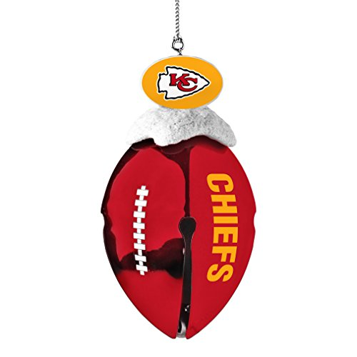 NFL Kansas City Chiefs Metal Football Bell Ornament, 2″, White
