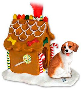 BEAGLE Dog NEW Resin GINGERBREAD HOUSE Christmas Ornament NEW 14