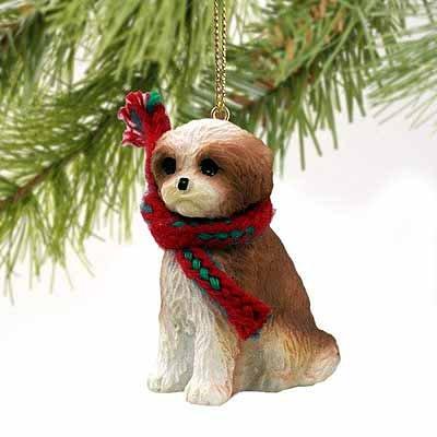 Shih Tzu Puppy Cut Miniature Dog Ornament – Brown & White