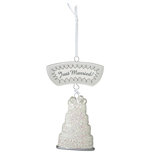 Just Married Wedding Cake Resin Stone Christmas Tree Ornament