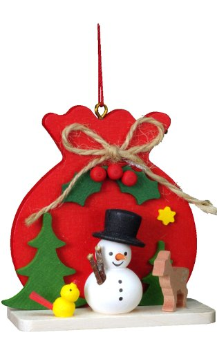 "10-0417 – Christian Ulbricht Ornament – Snowman with Red Toy Sack – 2.5″""H x 2.5″""W x 1″""D"