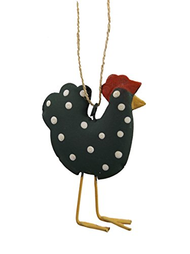 Black Polka Dot Hen Farm Chicken Metal Christmas Tree Ornament