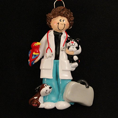 Veterinarian Woman with Dog Cat and Bird Vet Christmas Ornament Tree Decoration