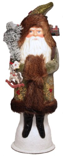 Ino Schaller Green Beaded Santa with Toy Pack Bag Paper Mache Candy Container