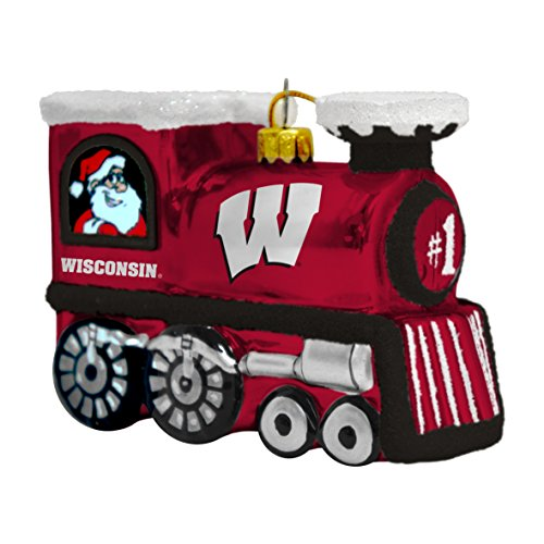 NCAA Wisconsin Badgers Train Ornament, 3.75″, Red