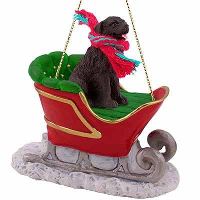 Pomeranian Dog Sleigh Christmas Ornament