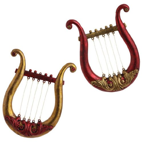 RAZ Imports – Red and Gold Harp Ornaments 9.5″