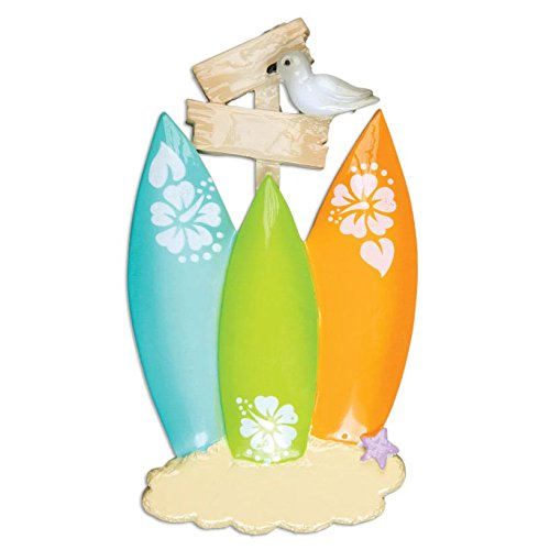 Surf Board Family of 3 Personalization Christmas Ornament