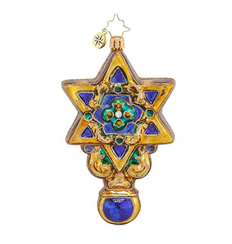 Christopher Radko Glass David's Star Hanukkah Christmas Holiday Ornament #1017882